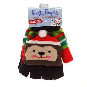 Apparel FINGERLESS POP-TOP MITTEN GLOVE Childs Size Stretches To Fit Xfglv Bear