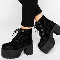 T.U.K. Nosebleed Velvet Lace Up Mega Platform Ankle Boots at asos.com