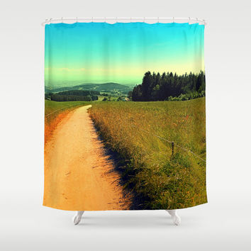 Hiking on a hot afternoon Shower Curtain by Patrick Jobst