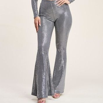 Sparkle Up Sequin Metallic Bell Bottom Pant