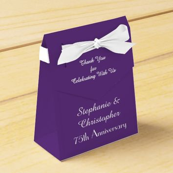 75th Wedding Anniversary Favor Box, Purple Favor Box