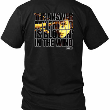 Bob Dylan Blowin In The Wind 2 Sided Black Mens T Shirt