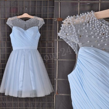 Light Blue Beaded Short Prom Dresses, Bridesmaid Dress,Party Dresses, Evening Dresses, Wedding Party Dresses,Cocktail Dress