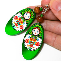 Matryoshka Russian Doll Earrings - Decoupage Earrings - Double Faced | Luulla
