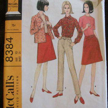 1960s Blouse Jacket Top Skirt & Pants Sewing Pattern McCalls 8384 Sz10 Bust 31 Misses Separates