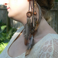 dreamcatcher ear cuff wrap dream catchers feathers mop teeth malachite  native american inspired tribal gypsy boho hippie style