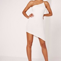 Missguided - Asymmetric One Shoulder Bodycon Dress White