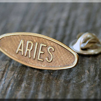 Brass ARIES Tie Tac, Lapel Pin, Zodiac Brooch, Gift for Him, Gift Under 10 Dollars, Tie Tac, Astrology Sign Pin, Unisex Pin, Aries Brooch