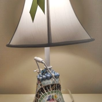 Shabby Chic Mosaic recycled Teapot Table Lamp 24 Inch handmade broken china mosaic greens blues