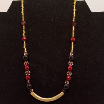 Onyx, Amber, Red Pearls and Crystal Beads 3pc Jewelry Set