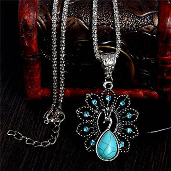 Elegant blue turquoise peacock necklaces natural stone austrian crystal pendant necklace vintage bijoux femme