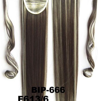 Hot sell European fashion style clip in on Velcro wrap straight hair ponytail invisable hairpieces,Hair Extension,Ponytail with band,Ribbon Ponytail,Wig Hairpiece,synthetic hair wig,woman wigs,wig hairs,Bath & Beauty,Accessories BIP-666 F613/6