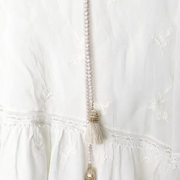 Lina Tassel Necklace in Taupe