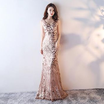 Women's Elegant Long Sequined Mermaid Evening Prom Party Dress