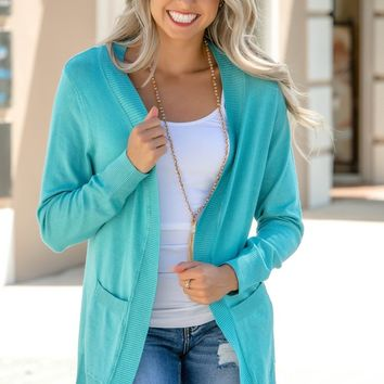 Good Vibes Mint Aqua Cardigan Shop Simply Me Boutique Shop SMB – Simply Me Boutique