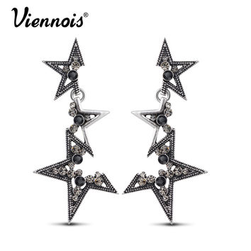 Vintage Silver Long Dangle Earrings for Woman Rhinestone Star Earrings Punk