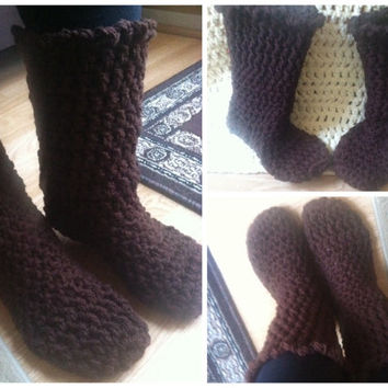 Free pair! Boot slippers. House slippers. Crochet/knit cozy booties. Any color. One size fits all (adult) . Leg-warmer socks chunky boots