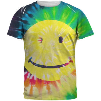 Smiley Face Tie Dye All Over Adult T-Shirt