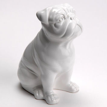 Relatively Statue of english bulldog, white ceramic, from AnimalbyLaureTerri BD51