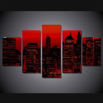 Red sky at night New York City 5 piece canvas panel wall art picture print