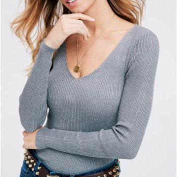 Fitted Rib Knit Top, Gray