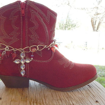 Boot Bracelet -Rhinestone Cross Boot Bracelet