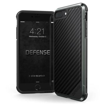 DCK4S2 iPhone 8 Plus & iPhone 7 Plus Case, X-Doria Defense Lux Series - Military Grade Drop Tested, Anodized Aluminum, TPU, and Polycarbonate Case for Apple iPhone 8 Plus & 7 Plus, [Black Carbon Fiber]