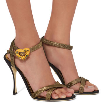 Heart Buckle Lurex Sandals