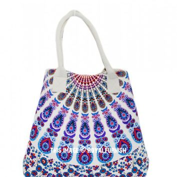 White  Purple Medallion Circle Bohemian Beach Handbag for Women on RoyalFurnish.com