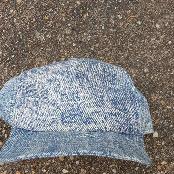 Vtg Acid Wash denim Snapback hat  plain jane snapback 80s 90s