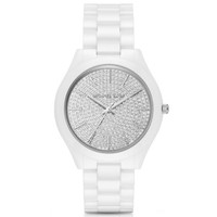 Slim Runway Pavé Silver-Tone Ceramic Watch | Michael Kors