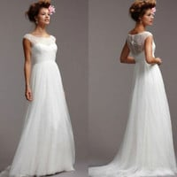 Cheap Bridal Dress Cap Sleeves Spring Wedding Dress Custom Size 0 2 4 6 8 10 12