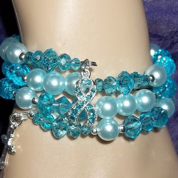 Cross Anxiety Disorders Awareness Ribbon Teal Swarovski Crystal & Pearl Bead Hand Crafted Wrap Statement Bracelet