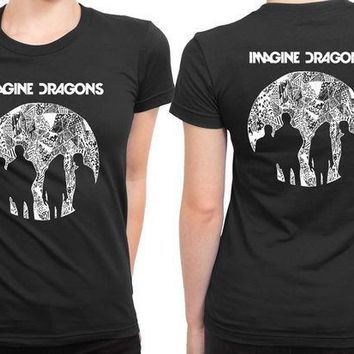 CREYH9S Imagine Dragons Moon Art 2 Sided Womens T Shirt