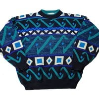 Vintage 90s McGregor Geometric Striped Acrylic Sweater Blue/Teal/Navy Mens Size Large