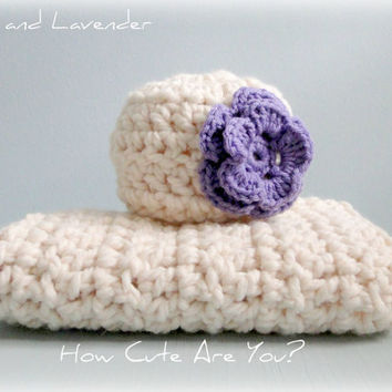 Baby Blanket and Hat Set Girl Crochet Chunky Ivory and Lavender - Many Colors - Blanket featured in Pregnancy and Newborn Magazine