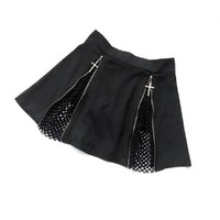 Harajuku Women Short Skirt Cross Zipper Decoration Mesh Hollow Out Mini Skirts Punk Style Black