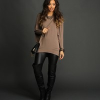 Sale-taupe Oversized Dolman Top
