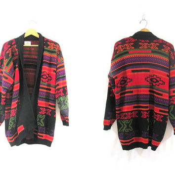 vintage southwestern cardigan sweater / long knit sweater coat