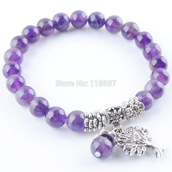 YOWOST Natural Purple Quartzs Gem Stone Bracelet Mala Beads Tree Of Life Charms Meditation Ethnic For Women Jewelry IK3213