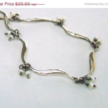 On Sale October Fine Vintage Sterling Bracelet Elegant Long Curved Links Seed Pearls Gift Idea