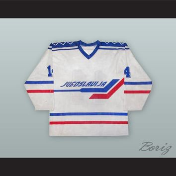 1991 Yugoslavia National Team White Hockey Jersey