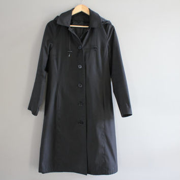Black Trench Coat Water-proof Trench Coat Black Parka Hooded Coat Spring Coat Petite Trench Coat Rain Coat Vintage 90s Size S