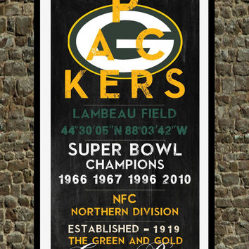 Green Bay Packers - Eye Chart chalkboard print - sports, football, gift for fathers day, subway sign - Eyechart wall art