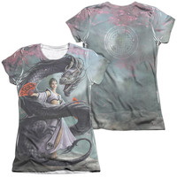 Anne Stokes/Dragon Dancer (Front/Back Print) S/S Junior 65/35 Poly/Cotton Crew Neck Tee