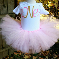 Pink birthday tutu, pink and gold birthday tutu, first birthday tutu