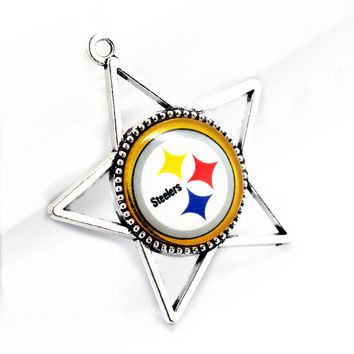 Hot sale 10pcs/lot football Team Sports Pittsburgh Steelers Hanging Glass Pendant Dangle Charms For bracelet jewelry
