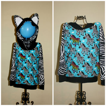 4T/5 Zebra hoodie with ears, zebra stripe arms, ready to ship