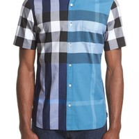 Burberry Sawick Trim Fit Short Sleeve Check Sport Shirt | Nordstrom
