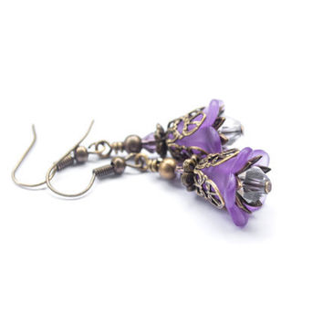Lucite Flower Earrings. Purple Earrings.Swarovski Crystals & Antique Brass. Purple Jewelry. Flower Jewelry.Beaded Earrings